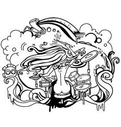 nude drummer vector image