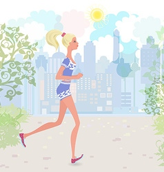 Cute girl jogging in the park vector