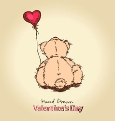 Teddy bear with red heart balloon vector