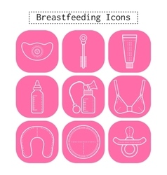 Breastfeeding motherhood flat white icons on a vector