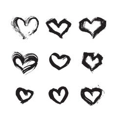 Hand drawn ink heart symbol set abstract vector