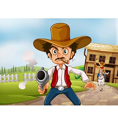 An old man wearing a hat holding a gun with a vector image vector image