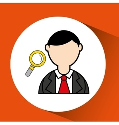 Avatar man with suit and searching graphic vector
