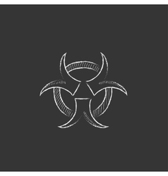 Bio hazard sign drawn in chalk icon vector