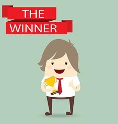 businessman hold golden metal trophy cup winner vector image vector image