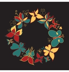 Butterfly round frame vintage vector