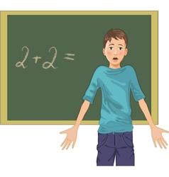 cartoon image of a perplexed boy at blackboard in vector image