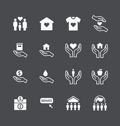 charity and donation silhouette icons vector image vector image