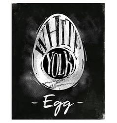 Egg cutting scheme chalk vector