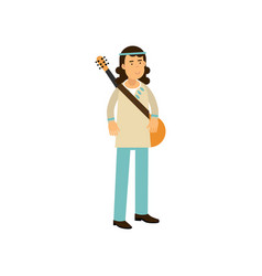 flat cartoon man hippie with guitar carefree male vector image vector image