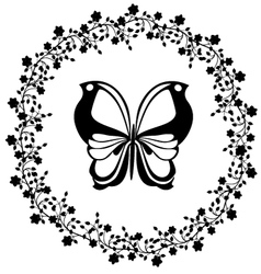 flourishes vintage with butterfly vector image vector image