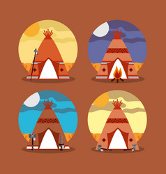 Four teepee home native american with landscape vector
