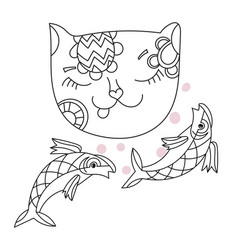 hand drawn doodle outline cat vector image vector image