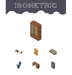 Isometric furniture set of table sideboard vector