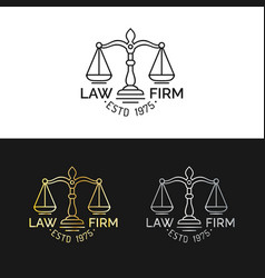 law office logos set with scales of justice vector image vector image