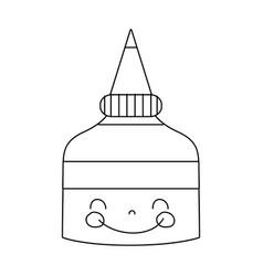 Line kawaii cute happy glue bottle vector