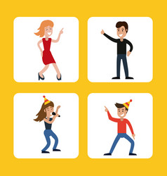 People funny party karaoke dance vector