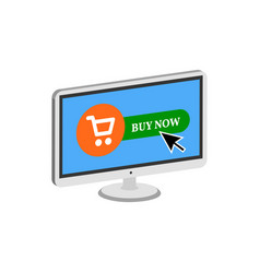 Pressing buy button on display online commerce vector