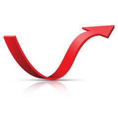 red arrow 3d curve direction white vector image