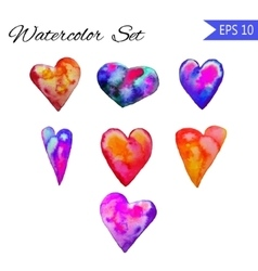 Set of watercolor painted red heart vector