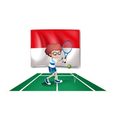 The flag of Indonesia at the back of a tennis vector image