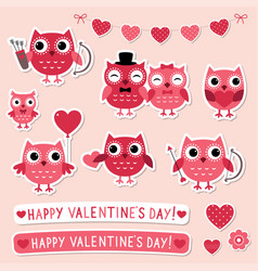 Valentine stickers set with pink owls vector