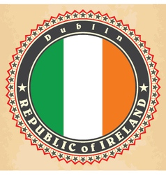 Vintage label cards of ireland flag vector