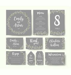 Wedding floral invite thank you menu card design vector