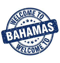Welcome to bahamas blue round vintage stamp vector