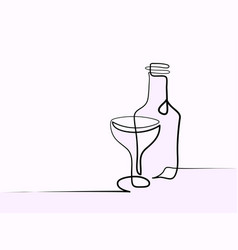wine and glass contour black outline vector image