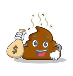 With money bag poop emoticon character cartoon vector