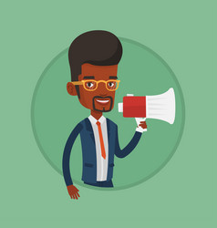 young man speaking into megaphone vector image