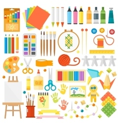 Kids creativity creation symbols set vector