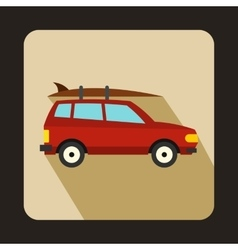 Car with luggage icon flat style vector