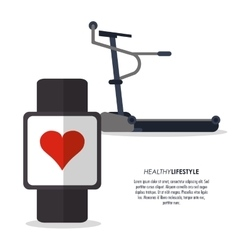 Running machine and watch icon fitness design vector