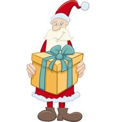 Santa claus with big gift vector
