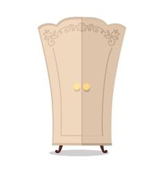 Wooden cupboard closeup vector