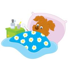 Sick puppy vector image