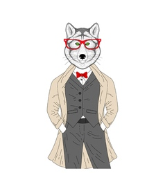 Hand drawn anthropomorphic animal with glasses vector