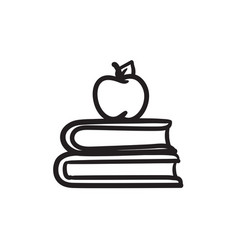 Books and apple on top sketch icon vector