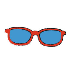 Sunglasses with red frame and blue lenses icon vector