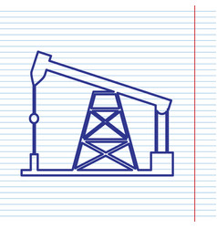 Oil drilling rig sign  navy line icon on vector