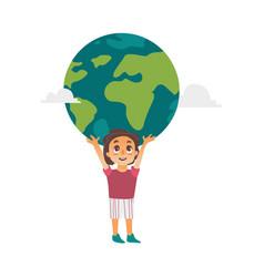 flat boy lifting planet earth icon high vector image