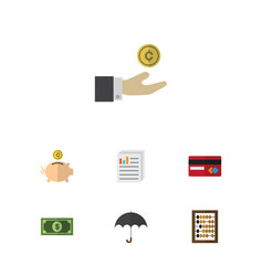 Flat icon incoming set of counter payment vector