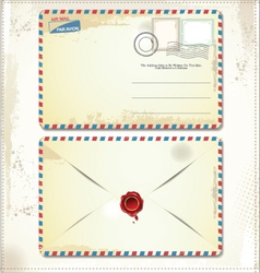 Old postage envelope with stamps and wax seal vector