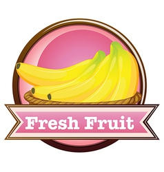 A fresh fruit label with ripe bananas vector