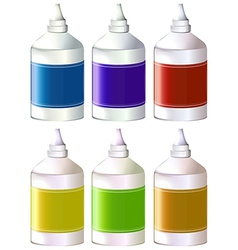 Bottles of colorful inks vector