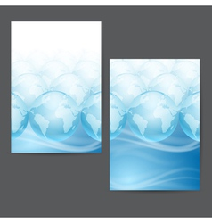 Globes on a blue background with place for text vector image