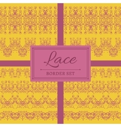 Lace abstract border set vector