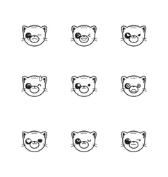 Trendy line style set of funny cartoon cat vector